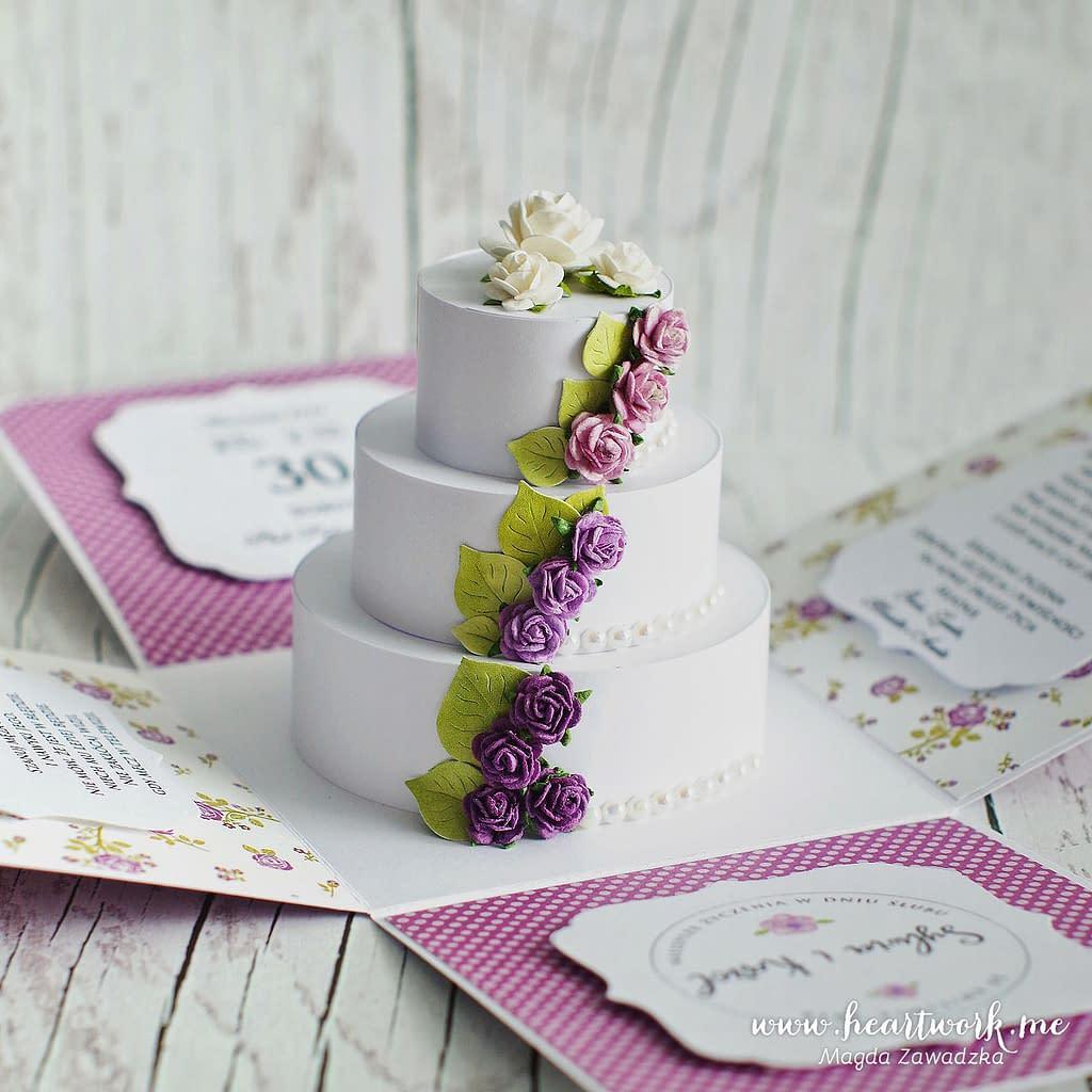 Fioletowy exploding box na ślub. Box z tortem weselnym w środku.