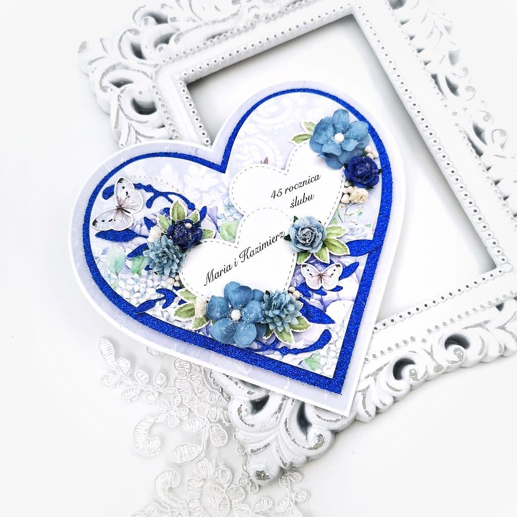 Personalizowana kartka na rocznicę ślubu. Kartka na szafirowe gody. Rękodzieło w prezencie rocznicowym.
