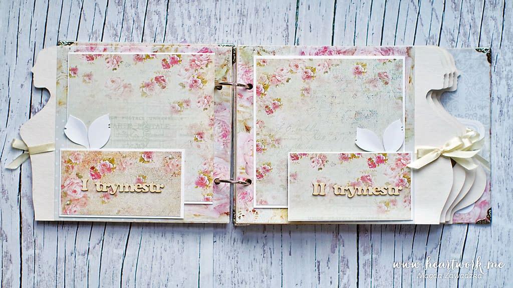 Rozkładane strony w albumie ciążowym