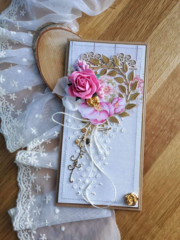 Różowo-złota kartka okolicznościowa