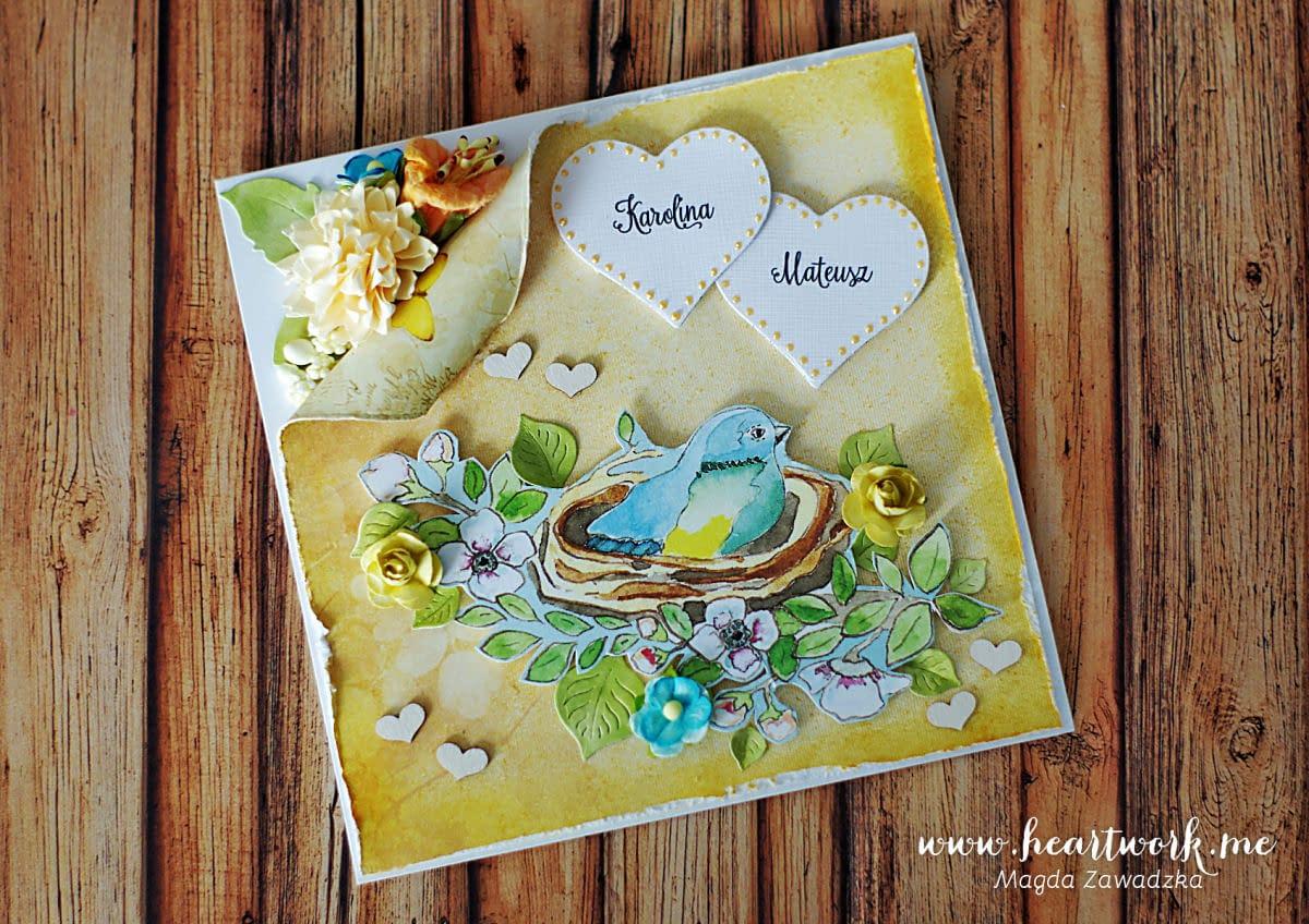 Kartka ślubna z ptaszkiem