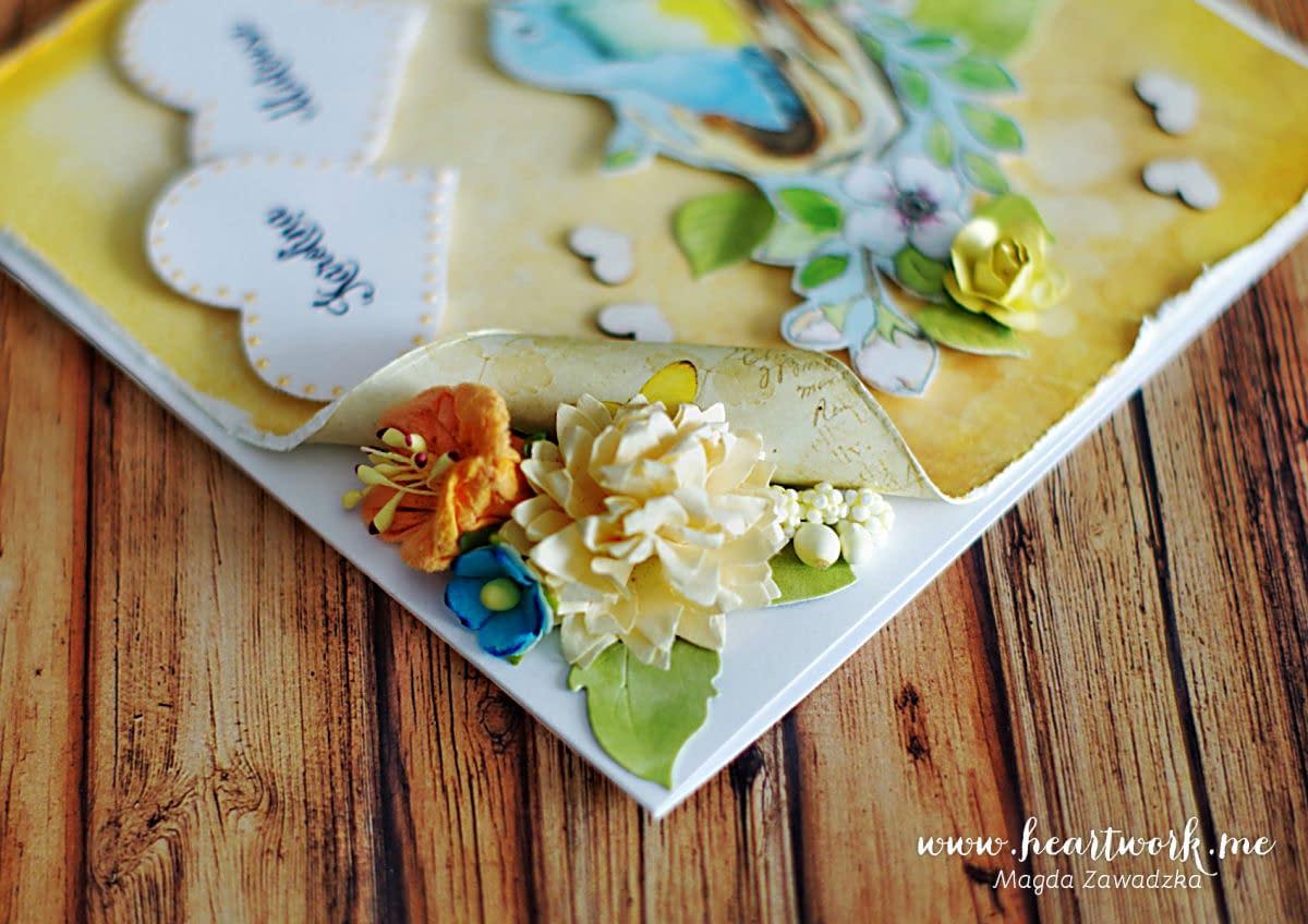 Kartka ślubna z ozdobnym rogiem