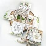 Exploding box na ślub. Ręcznie robiony exploding box z życzeniami ślubnymi oraz kieszonkami na pieniądze. Box w klimacie boho.