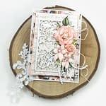 Kartka ślubna w modnym kolorze różowego złota. Ręcznie robiona kartka na ślub.