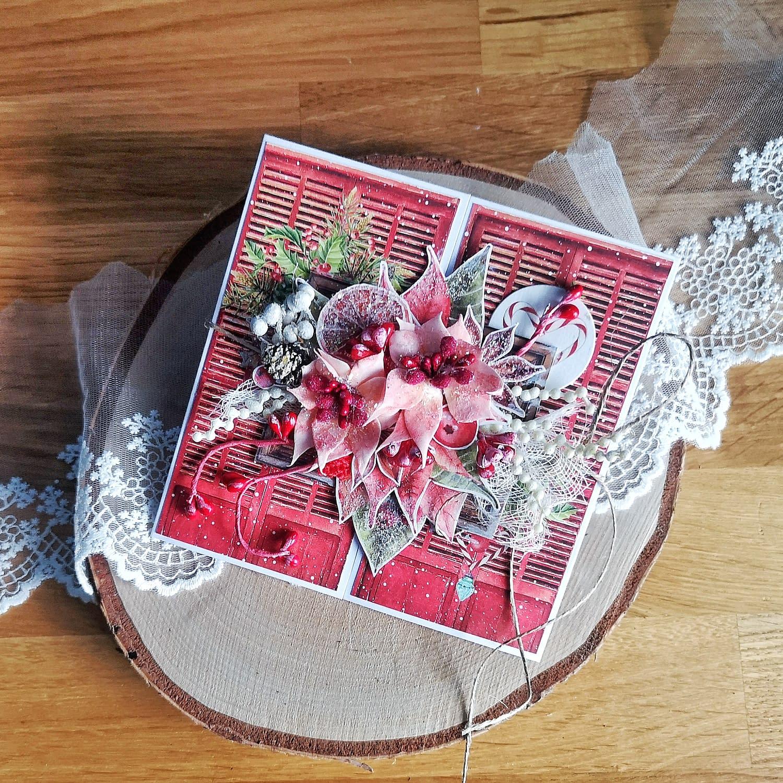 Bożonarodzeniowa kartka z drzwiami