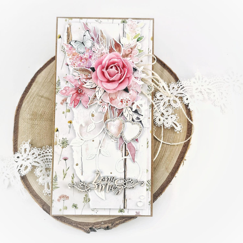 """Różowa kartka ślubna z napisem """"Mąż i żona"""". Ręcznie robiona kartka ślubna scrapbooking."""