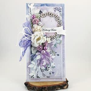 Kartka okolicznościowa dla Babci. Ręcznie robiona kartka w delikatnym, pastelowym odcieniu fioletu. Zamówienia na kartki okolicznościowe.