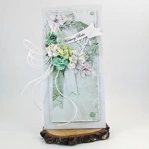 Miętowa kartka na Dzień Babci. Delikatna, ręcznie robiona kartka z sercem. Prezent dla babci w dniu jej święta.