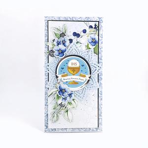Ręcznie robiona kartka na Pierwszą KomunięŚwiętą. Pamiątka komunijna dla chłopca. Niebieska kartka z miejscem na pieniądze.