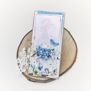 Delikatna kartka ślubna z motywem pary młodej. Niebieska kartka ślubna.