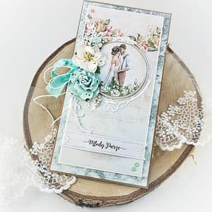 Delikatna kartka ślubna z motywem pary młodej. Miętowa kartka ślubna.