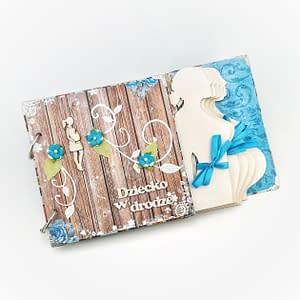 Turkusowo-brązowy album ciążowy. Pamiątkowy album na zdjęcia USG. Ręcznie robiony prezent dla mamy spodziewającej się dziecka.