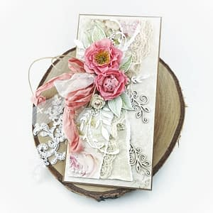 Kartka w romantycznym klimacie shabby chic. Kartka okolicznościowa z możliwością personalizacji. Idealna na ślub, urodziny, imieniny.