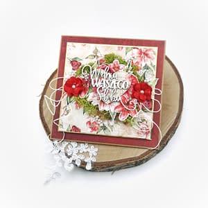 Romantyczna, ręcznie robiona kartka ślubna. Bogata kartka na wesele. Rękodzieło dostępne od ręki. Oryginalna kartka ślubna w kolorze czerwonym.