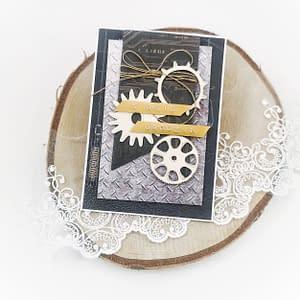 Ręcznie robiona kartka urodzinowa dla mężczyzny. Kartka z trybikami i naturalnym sznurkiem.