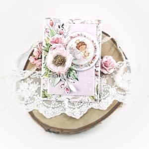 Piękna kartka na chrzest dziewczynki. Ręcznie robiona kartka na chrzciny. Kartka w prezencie od chrzestnych, dziadków, rodziny. Kartka z aniołkiem na chrzest dziecka.