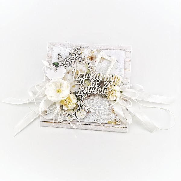 Ręcznie robiona kartka z podziękowaniami od pary młodej dla rodziców. Oryginalne podziękowania ślubne. Pomysł na prezent dla rodziców.
