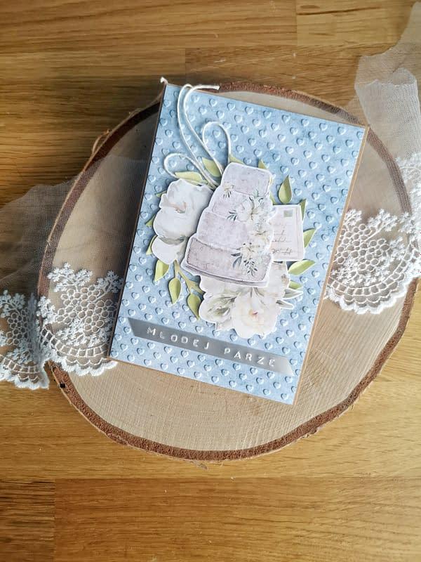 Kartka ślubna z tortem