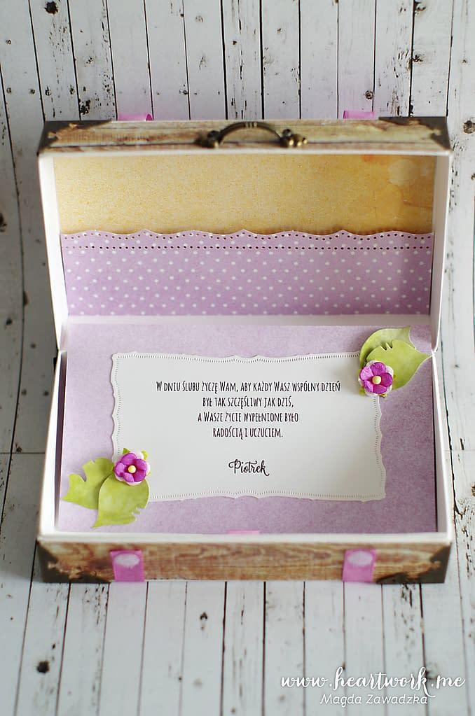 Ręcznie robiona kartka w kształcie walizki. Prezent dla nowożeńców, pasjonatów podróży