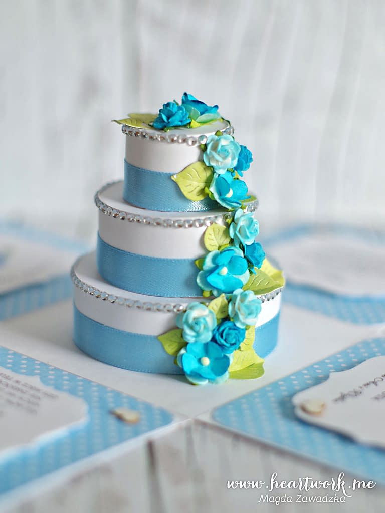 Exploding box z tortem weselnym. Ręcznie robiony prezent z okazji ślubu.